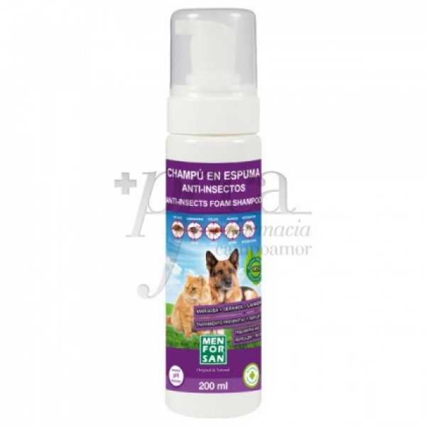 MEN FOR SAN CHAMPU EN ESPUMA GATOS PERROS 200ML