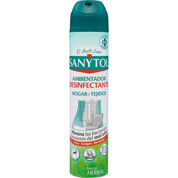 Sanytol ambientador desinfectante hogar y tejidos frescor herbal 300ml.