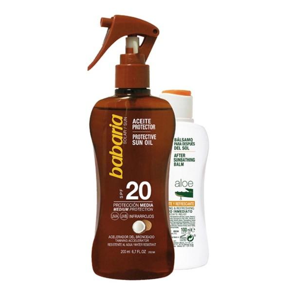 Babaria aceite protector coco spf20 proteccion media 200ml + after sun aloe 100ml