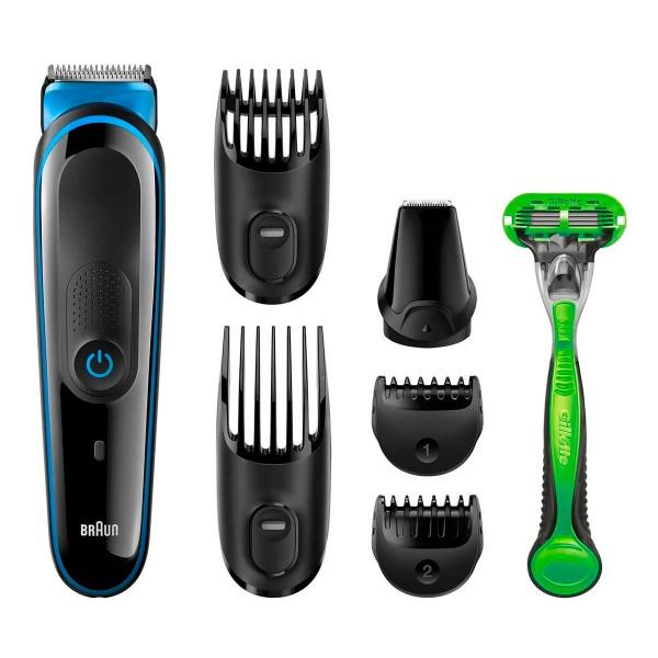 Braun mgk3042 recortadora de barba y cuerpo 7 en 1 con 5 accesorios y maquinilla gillette