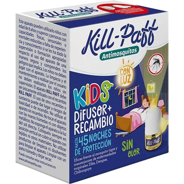 Kill-Paff antimosquitos Kids Difusor + Recambio 45 noches