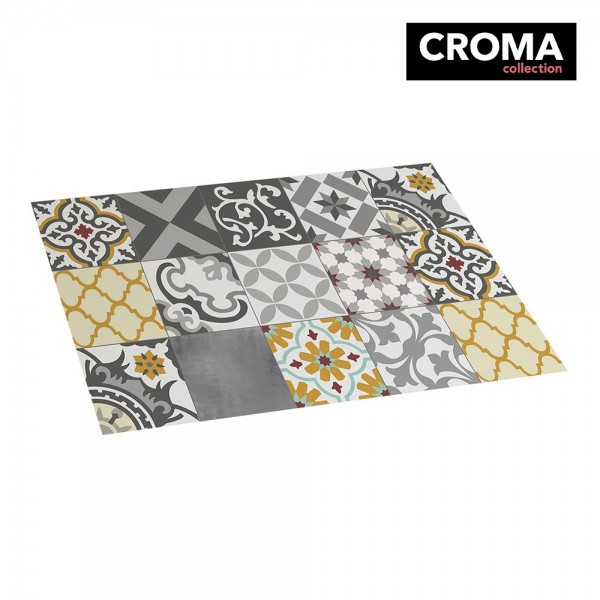 Alfombra vinilica croma patch gris-ambar 45x75cm